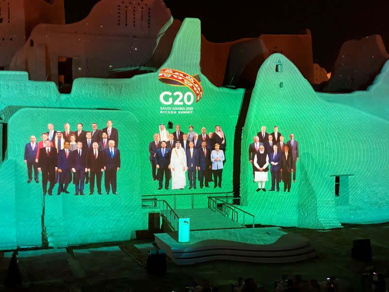 FILE PHOTO: Family Photo of G20 Leaders' Summit is projected onto Salwa Palace in At-Turaif, in Diriyah