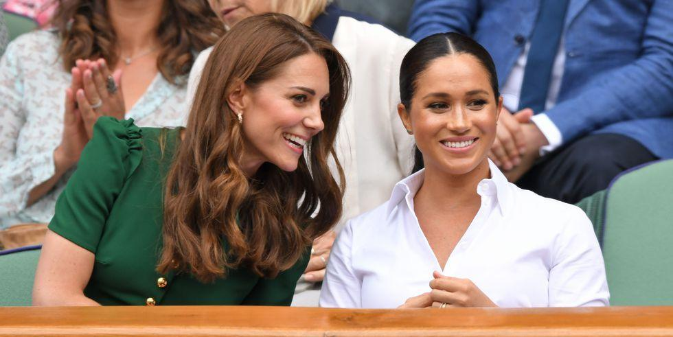 """<p>Meghan Markle and Kate Middleton just took their seats at Wimbledon for their first joint event of 2019 together. But the women are doing more than just showing their support for tennis tournament; they're giving the world a rare glimpse at their relationship at one of the more relaxed events on the royal calendar. </p><p>Here, the most revealing photos from today's match at how close they are as they watch the ladies' singles final match with Kate's sister Pippa Middleton too. They really help further shut down any remaining  talk of feud rumors. As a royal source <a href=""""https://www.elle.com/culture/celebrities/a25735057/meghan-markle-kate-middleton-feud-rumors-explained/"""" target=""""_blank"""">told ELLE.com</a> back in January, """"the stories of the two duchesses having a major ongoing feud are just overblown. They have enormous respect for each other."""" And you can see it clearly here.</p>"""