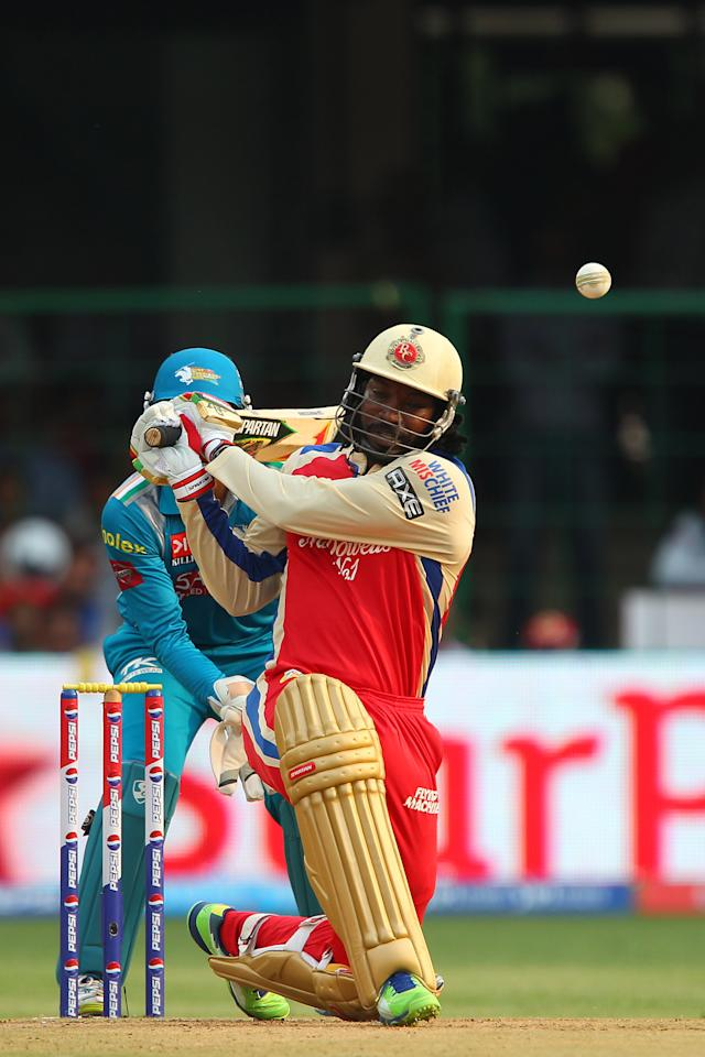 Chris Gayle during match 31 of the Pepsi Indian Premier League between The Royal Challengers Bangalore and The Pune Warriors India held at the M. Chinnaswamy Stadium, Bengaluru  on the 23rd April 2013..Photo by Ron Gaunt-IPL-SPORTZPICS ..Use of this image is subject to the terms and conditions as outlined by the BCCI. These terms can be found by following this link:..https://ec.yimg.com/ec?url=http%3a%2f%2fwww.sportzpics.co.za%2fimage%2fI0000SoRagM2cIEc&t=1495949106&sig=ZY8j4Iy1eqZEt02_v39eHg--~C