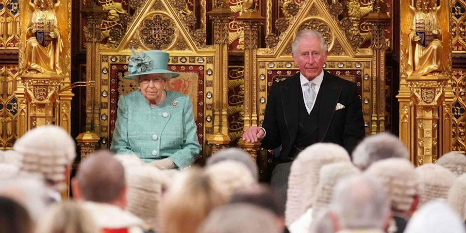 <p>Queen Elizabeth II and Prince Charles are seated for the state opening of parliament at the Houses of Parliament in London, England.</p>