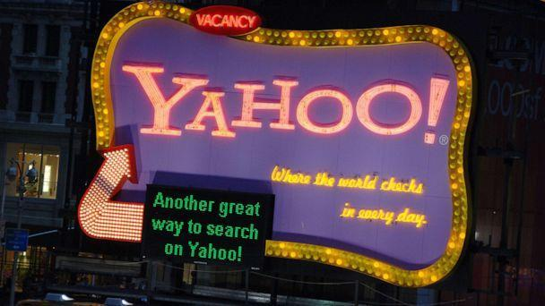 PHOTO: A Yahoo billboard lights up atop the Hard Rock Cafe Marquee in New York during an event to promote Yahoo Answers, June 13, 2006. (WireImage via Getty Images, FILE)