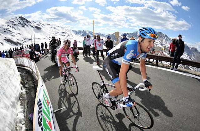 Canadian cyclist Ryder Hesjedal (R) and Spanish Giro leader Joaquim Rodriguez (L) ride on Passo dello Stelvio on the 20th stage of the Tour of Italy (Giro d'Italia), a 219 km ride from Caldes/Val di Sole to Passo dello Stelvio, on May 26, 2012. AFP PHOTO/POOL/DANIELE BADOLATODaniele Badolato/AFP/GettyImages