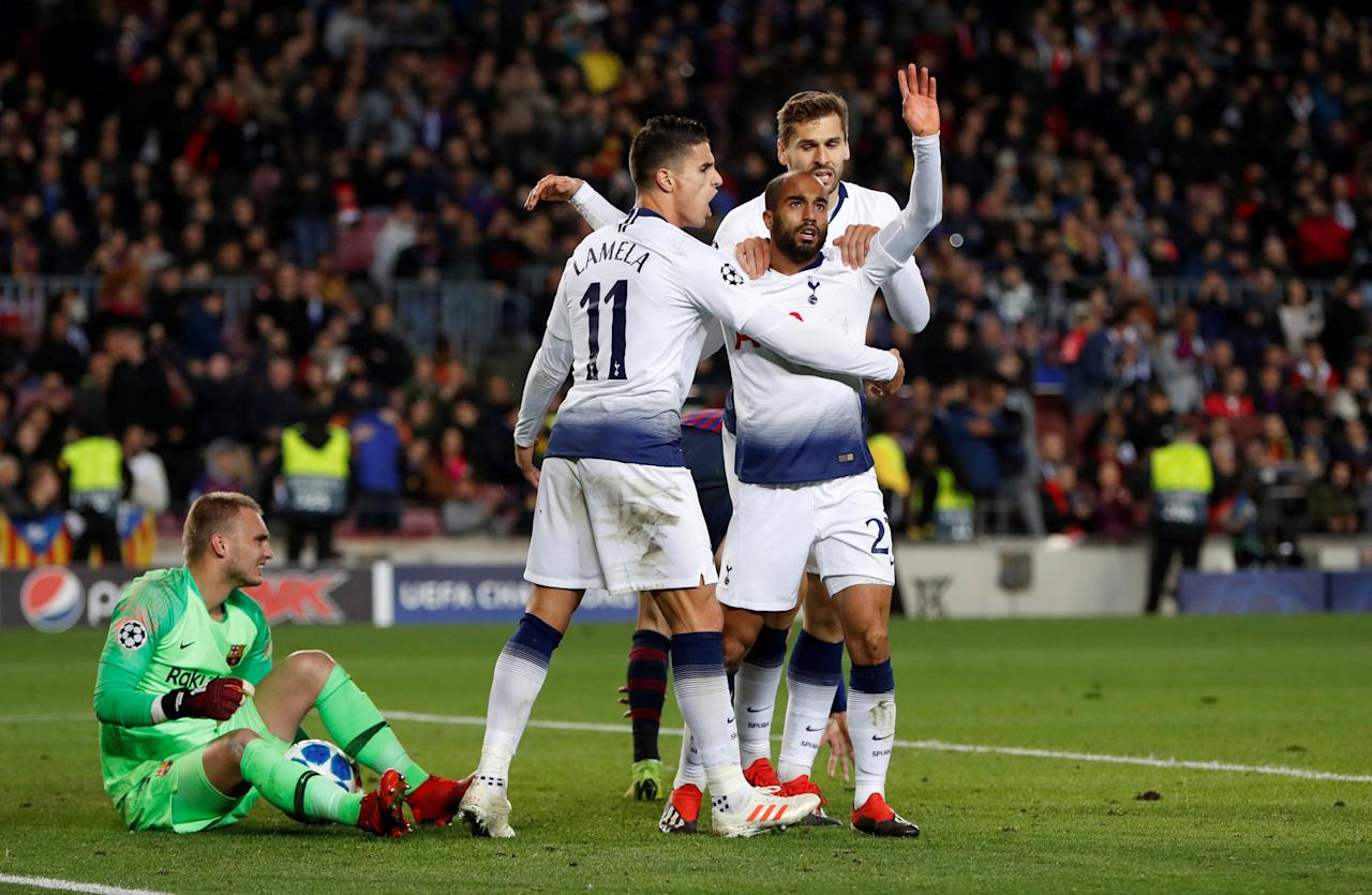 Soccer Football - Champions League - Group Stage - Group B - FC Barcelona v Tottenham Hotspur - Camp Nou, Barcelona, Spain - December 11, 2018  Tottenham's Lucas Moura celebrates with Fernando Llorente and Erik Lamela after scoring their first goal   Action Images via Reuters/Paul Childs     TPX IMAGES OF THE DAY