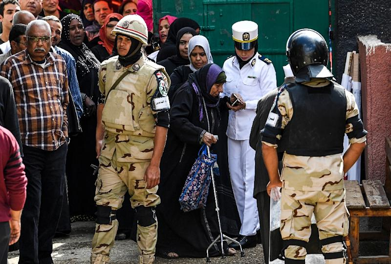 Egypt has deployed troops as well as police to provide security at polling stations as it battles an Islamic State group-inspired insurgency based in the Sinai Peninsula (AFP Photo/Khaled DESOUKI)