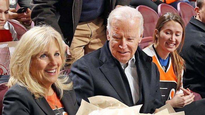 Jill and Joe Biden at a Capitols-Flyers NHL game in 2016