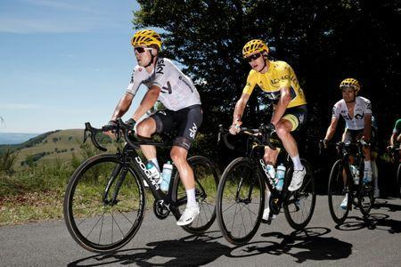 Cycling - The 104th Tour de France cycling race - The 189.5-km Stage 15 from Laissac-Severac l'Eglise to Le Puy-en-Velay, France - July 16, 2017 - Team Sky riders Michal Kwiatkowski of Poland, yellow jersey Chris Froome of Britain and Mikel Landa of Spain in action. REUTERS/Benoit Tessier