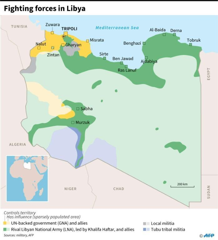 Map showing the positions of forces fighting in Libya, as of June 3 (AFP Photo/)