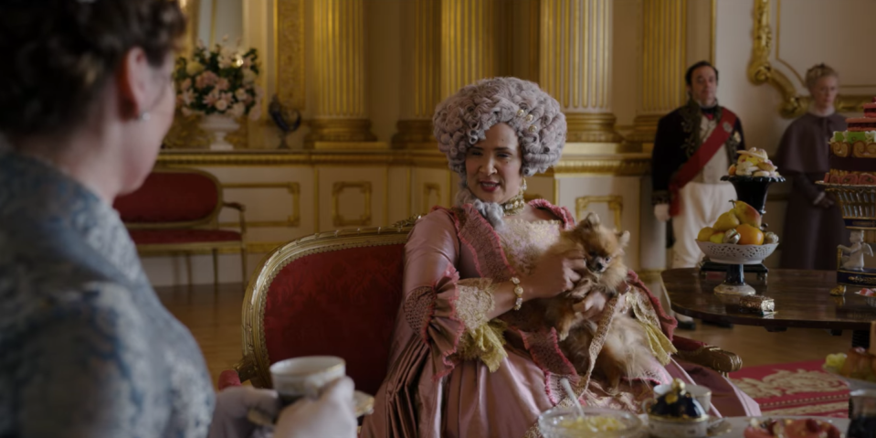 """<p>Another nod to the real Queen Charlotte is her affinity for Pomeranians. In the show, we see her constantly surrounded by the toy dog breed. In reality, the Queen had <a href=""""https://pomeranian.org/royalty/"""" rel=""""nofollow noopener"""" target=""""_blank"""" data-ylk=""""slk:several throughout her life"""" class=""""link rapid-noclick-resp"""">several throughout her life</a> and would often give them to acquaintances as gifts. </p>"""