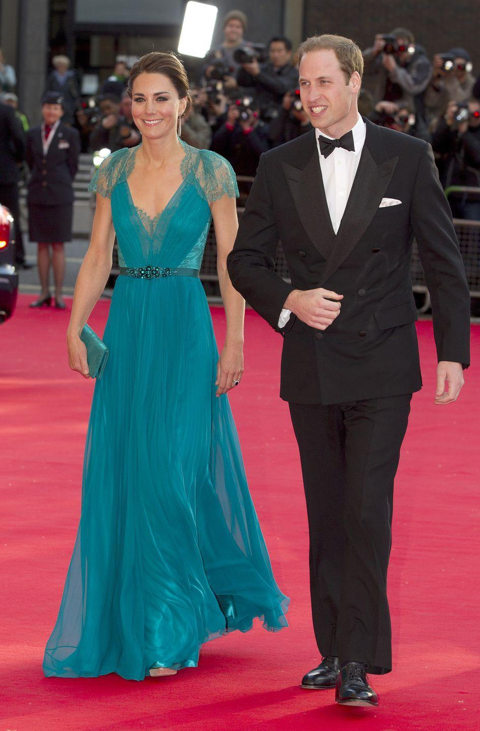 <p>Kate first wore this bold gown, by one of her favourite designers Jenny Packham, to an Olympic Games concert at Royal Albert Hall in 2012.</p>