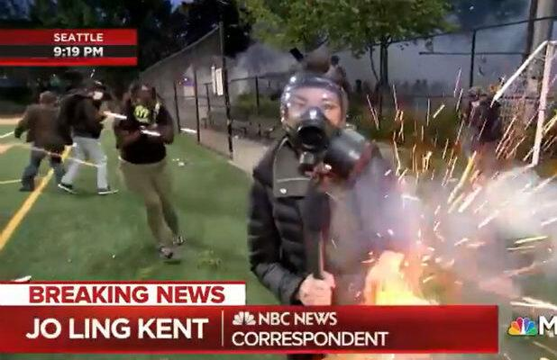 Watch: MSNBC Reporter Struck by 'Fireworks' While Reporting on George Floyd Protests in Seattle (Video)