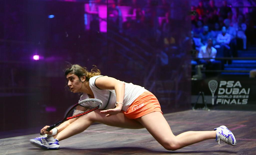 Nour El Sherbini plays at the Dubai PSA World Series Finals squash tournament in May 2016. (AFP Photo/MARWAN NAAMANI)
