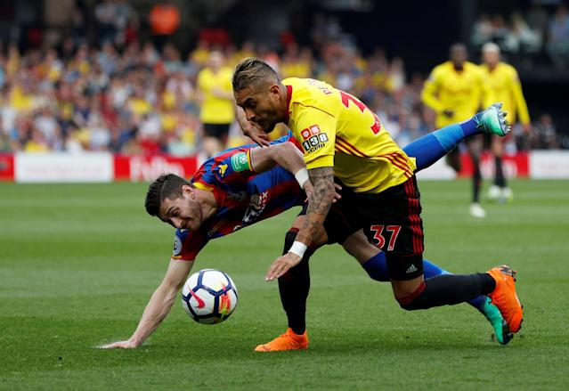 "Soccer Football - Premier League - Watford v Crystal Palace - Vicarage Road, Watford, Britain - April 21, 2018 Watford's Roberto Pereyra in action with Crystal Palace's Joel Ward Action Images via Reuters/Paul Childs EDITORIAL USE ONLY. No use with unauthorized audio, video, data, fixture lists, club/league logos or ""live"" services. Online in-match use limited to 75 images, no video emulation. No use in betting, games or single club/league/player publications. Please contact your account representative for further details. TPX IMAGES OF THE DAY"
