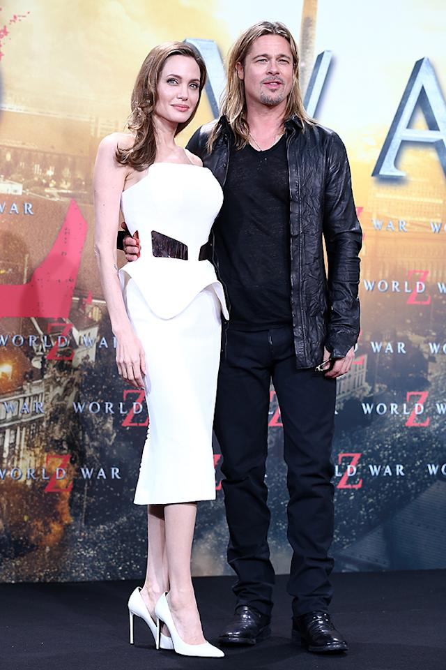 BERLIN, GERMANY - JUNE 04:  Actors Angelina Jolie and Brad Pitt attend 'WORLD WAR Z' Germany Premiere at Sony Centre on June 4, 2013 in Berlin, Germany.  (Photo by Andreas Rentz/Getty Images for Paramount Pictures)