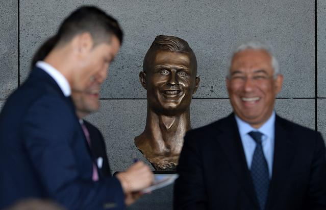 The bust of Cristiano Ronaldo at Madeira Airport was widely ridiculed (Photo by Octavio Passos/Getty Images)
