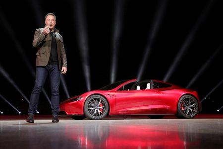 Tesla CEO Elon Musk unveils the Roadster 2 during a presentation in Hawthorne California