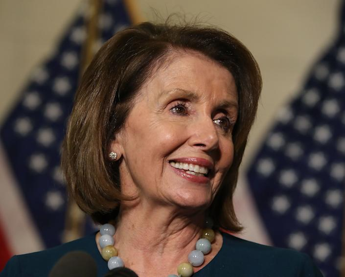 House Minority Leader Nancy Pelosi (D-Calif.) speaks to the media after winning the House Democratic leadership election on Nov. 30, 2016.