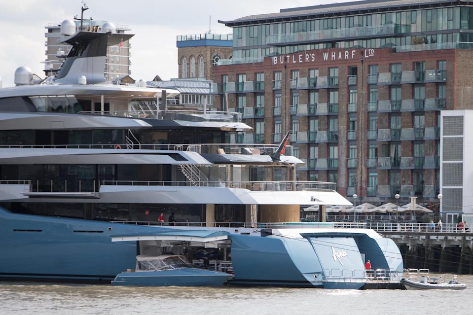 <p>Dwarfing others: The massive vessel turned heads when it moored in London on Thursday. (WENN) </p>