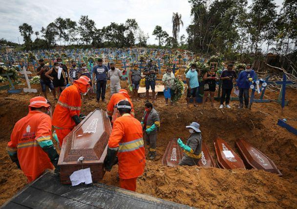 PHOTO: Gravediggers carry a coffin during a collective burial of people that have passed away due to COVID-19, at the Parque Taruma cemetery in Manaus, Brazil April 28, 2020. Picture taken April 28, 2020. (Bruno Kelly/Reuters)