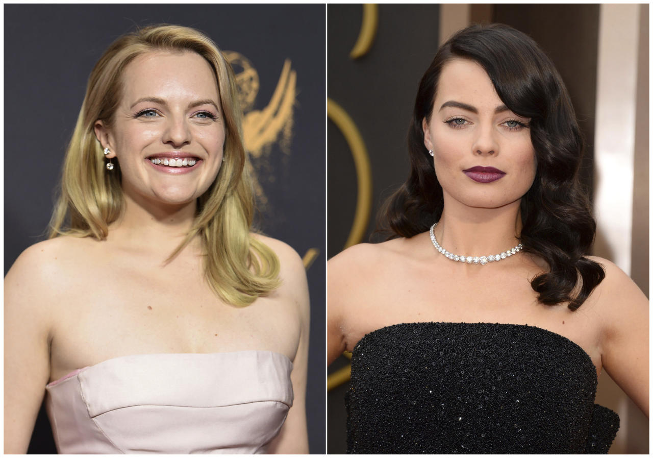 In this combination photo, Elisabeth Moss arrives at the 69th Primetime Emmy Awards in Los Angeles on Sept. 17, 2017, left, and Margot Robbie arrives at the Oscars in Los Angeles on March 2, 2014. Moss wore a pair of diamond ear dusters designed by celebrity stylist Karla Welch and Robbie wore a 60-carat diamond Riviera necklace and a 14-carat ring. (Photos by Richard Shotwell, left, and Jordan Strauss/Invision/AP)