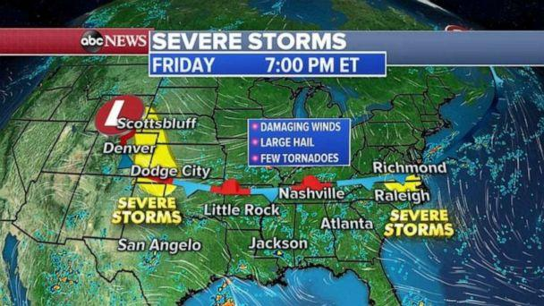 PHOTO: Severe storms are possible in the Plains and Virginia and North Carolina on Friday. (ABC News)