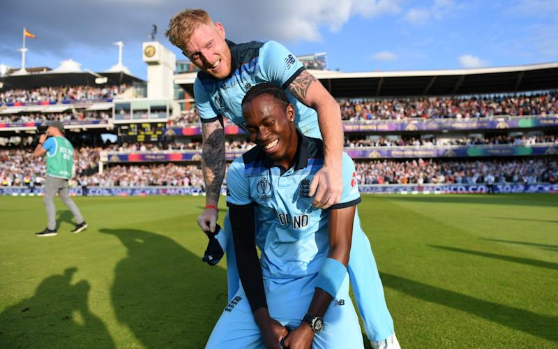 Ben Stokes of England and Jofra Archer of England celebrate after winning the Cricket World Cup  - GETTY IMAGES