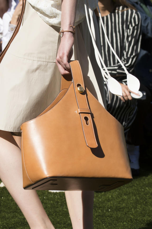 <p><i>Large brown leather tote from the SS18 Tory Burch collection. (Photo: ImaxTree) </i></p>