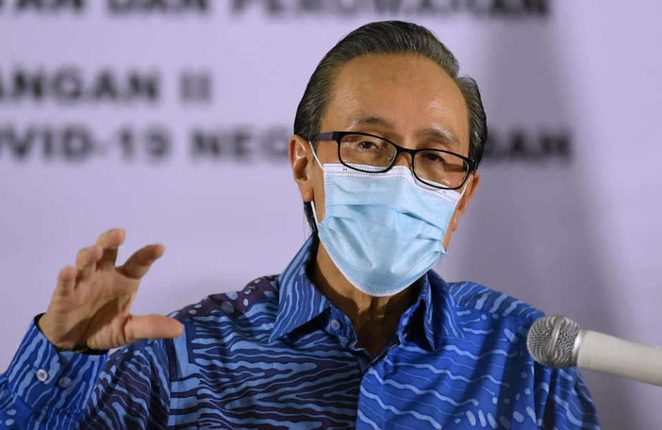 Datuk Seri Masidi Manjun speaks to the media in Kota Kinabalu, October 18, 2020. — Bernama pic