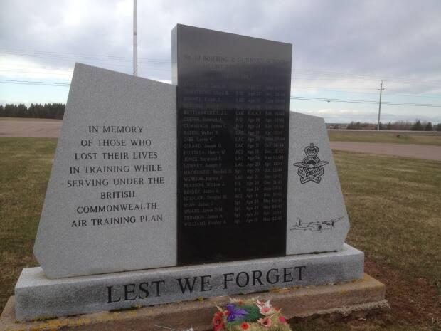 This memorial now stands on the grounds of the old Mount Pleasant airport listing the names of those killed. It includes John Leighton