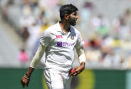 India's Jasprit Bumrah prepares to bowl during play on day one of the Boxing Day cricket test between India and Australia at the Melbourne Cricket Ground, Melbourne, Australia, Saturday, Dec. 26, 2020. (AP Photo/Asanka Brendon Ratnayake)