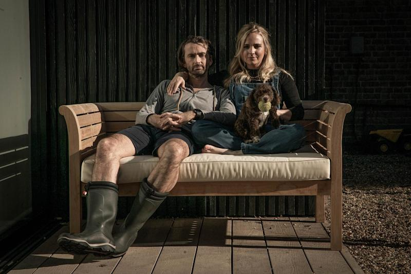Furlough family: David Tennant and wife Georgia recently squeezed in time to star in a lockdown comedy series, Staged (BBC/GCB Films/Infinity Hill/Paul Stephenson)
