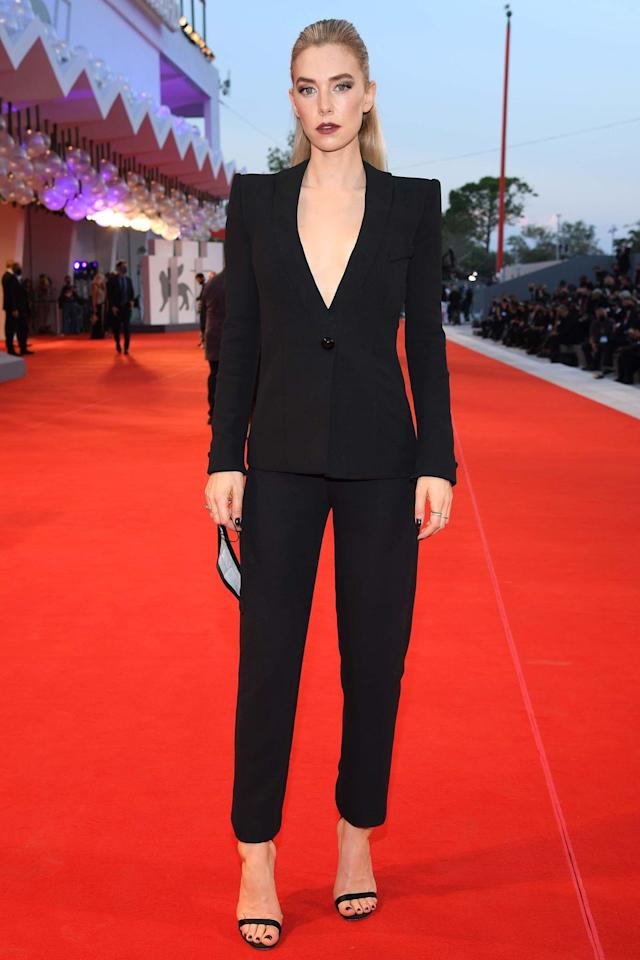 <p><strong>6 September </strong>Vanessa Kirby looked effortlessly chic in a Giorgio Armani suit at The World to Come premiere. <strong></strong></p>