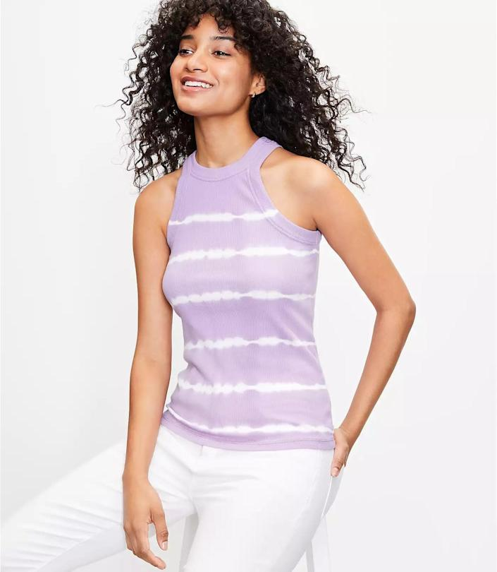 <p>This <span>Loft Tie Dye Ribbed Racerback Tank</span> ($5 with code WOW, originally $35) is made from a soft and stretchy cotton rib fabric, so you'll find yourself reaching for it daily. It will quickly become BFFs with all your bottoms.</p>