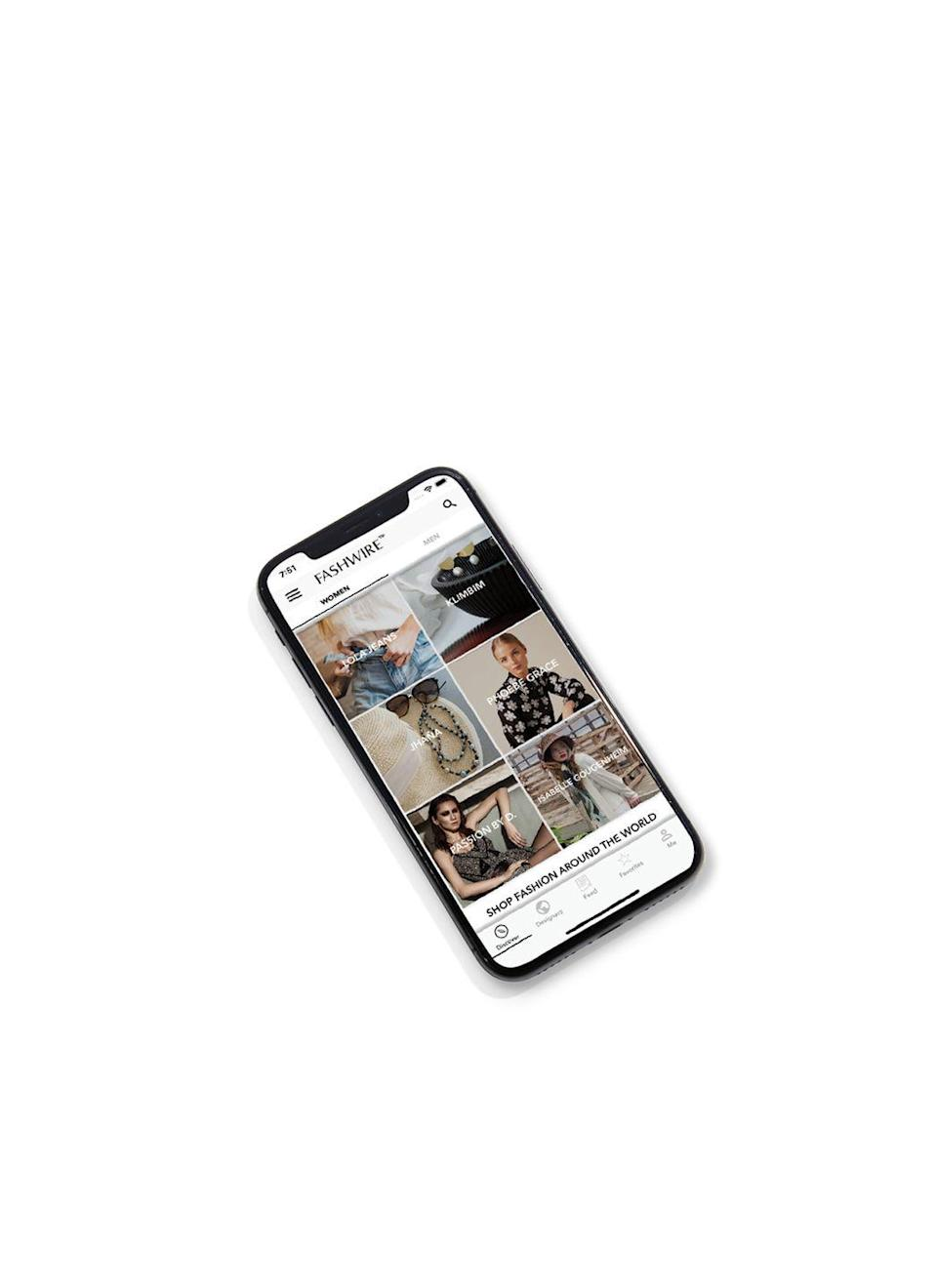 """<p>Female-founded Fashwire is a free app and digital marketplace that lets you virtually travel to more than 33 countries and shop collections curated by over 300 designers, both emerging and established. You'll find everything from amazing accessories to special separates. Plus, a percentage of every purchase goes to philanthropic organizations benefitting COVID-19 Relief.</p><p><em>Fashwire</em>, App Store and Google Play, $1.99</p><p><a class=""""link rapid-noclick-resp"""" href=""""https://www.fashwire.com/"""" rel=""""nofollow noopener"""" target=""""_blank"""" data-ylk=""""slk:DOWNLOAD NOW"""">DOWNLOAD NOW</a></p>"""
