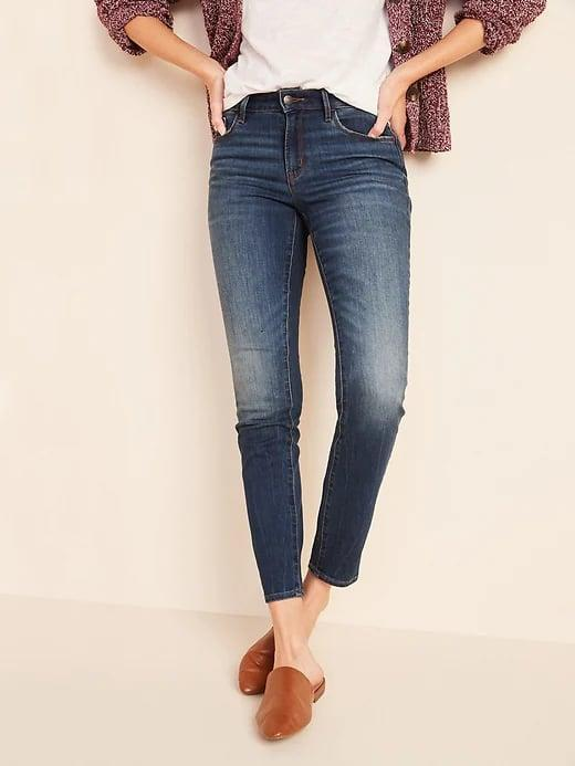 <p>If you're not ready to quit skinny jeans but are curious about venturing out into a straight-leg style, <span>Old Navy Mid-Rise Dark-Wash Pop Icon Skinny Jeans for Women</span> ($30, originally $35) offer just the right amount of gap at the ankle to serve as this baby step.</p>