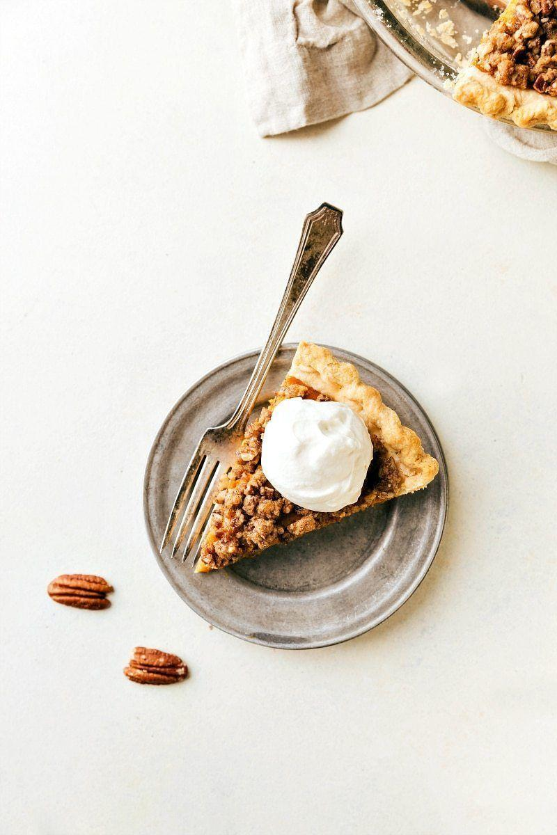 """<p>Trust us: You absolutely must make the maple whipped cream to top off this treat. This blogger writes it """"takes this pie over the top.""""</p><p><strong>Get the recipe at <a href=""""https://www.chelseasmessyapron.com/pecan-streusel-pumpkin-pie/"""" rel=""""nofollow noopener"""" target=""""_blank"""" data-ylk=""""slk:Chelsea's Messy Apron"""" class=""""link rapid-noclick-resp"""">Chelsea's Messy Apron</a>.</strong> </p>"""
