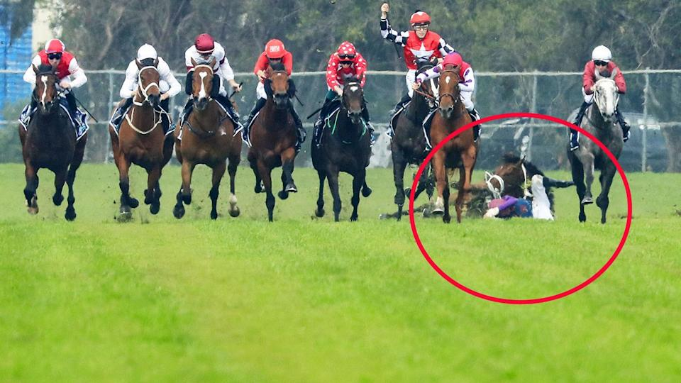 Seen here, Hugh Bowman (all red) on Smart Image was banned after a horror incident at Rosehill.