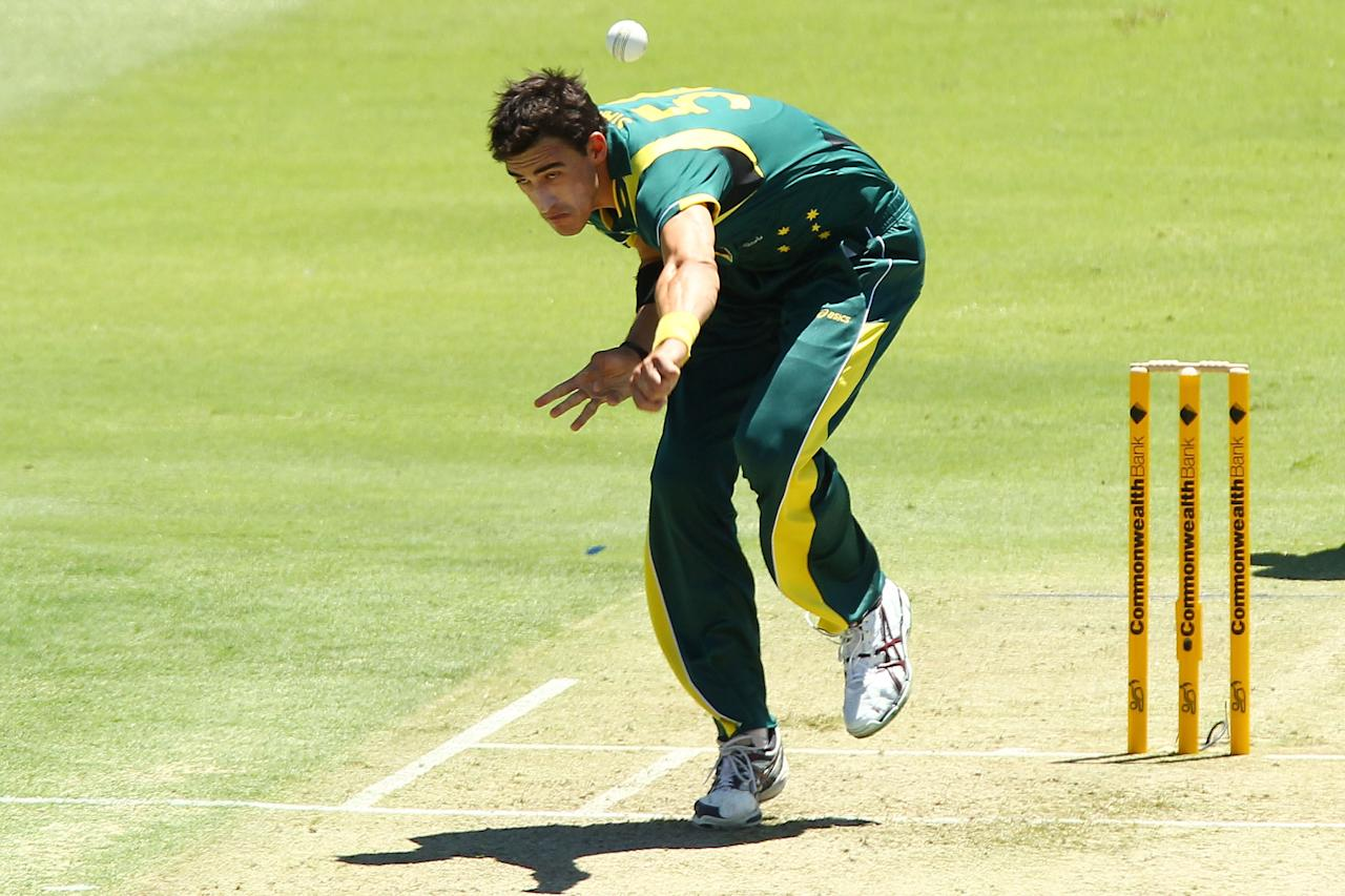 PERTH, AUSTRALIA - FEBRUARY 01: Mitchell Starc of Australia bowls during game one of the Commonwealth Bank One Day International Series between Australia and the West Indies at WACA on February 1, 2013 in Perth, Australia.  (Photo by Will Russell/Getty Images)