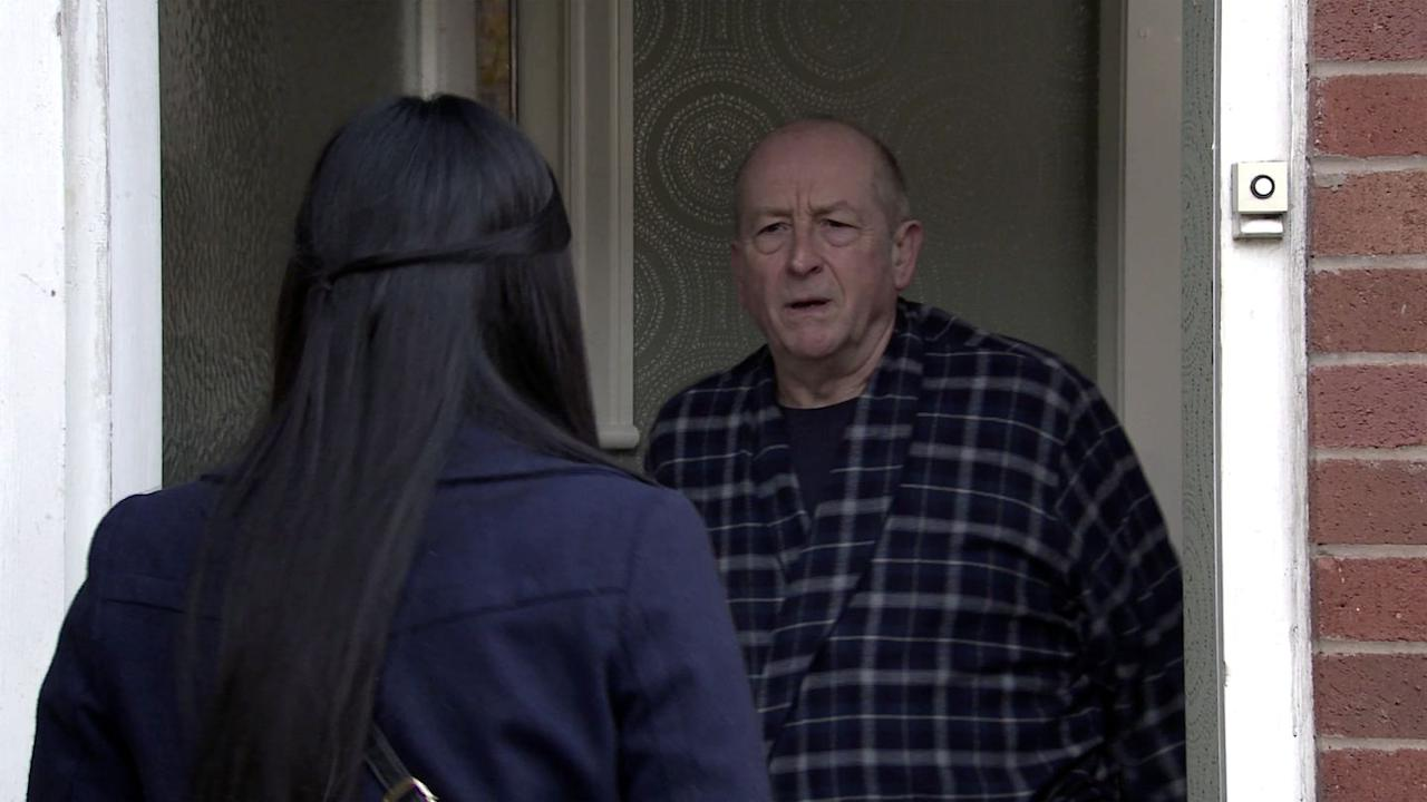 <p>As ever, Geoff isn't pleased to see her.</p>