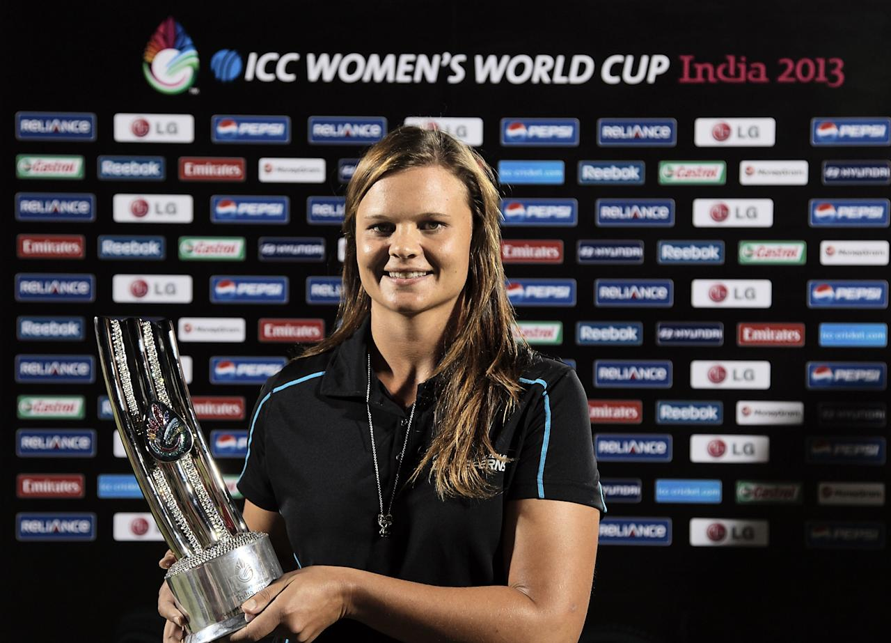 MUMBAI, INDIA - FEBRUARY 17:  Player of the tournament Suzy Bates of New Zealand with her trophy after the final between Australia and West Indies of the Women's World Cup India 2013 played at the Cricket Club of India ground on February 17, 2013 in Mumbai, India. (Photo by Graham Crouch/ICC via Getty Images)