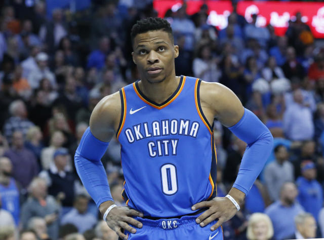 Russell Westbrook lent his support to Oklahoma educators demanding increased state funding for public education on Saturday. (AP)