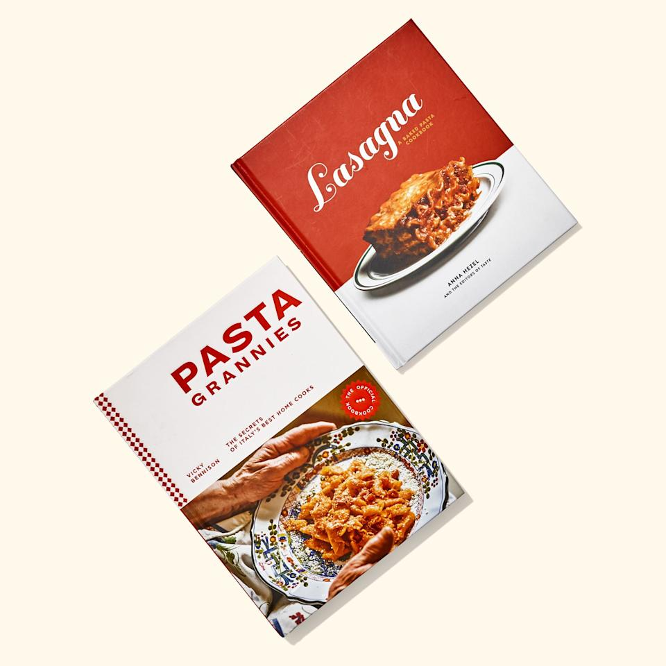 "<p>I've said it before and I'll say it again: <a href=""https://www.bonappetit.com/story/lasagna-cookbook-club?mbid=synd_yahoo_rss"">The <em>Lasagna</em> book is a bucket of fun</a>. The <br> <a href=""https://www.bonappetit.com/recipe/carbonara-lasagna?mbid=synd_yahoo_rss"">Carbonara Lasagna</a> is a dream you can actually wake up to (if you make it the night before). And no, it's not entirely lasagna. There's tiramisu and a textbook perfect iceberg lettuce salad, too. Then you've got <em>Pasta Grannies</em>, which I thought was going to be a gimmick (it's based on <a href=""https://www.youtube.com/user/pastagrannies"">the adorable YouTube channel</a>), but it's a lovely ode to matriarchs. The plateware situation is gorgeous. The photos reveal the beauty in aging, the recipes are luscious, and the stories so charming you want to read them aloud to whoever's nearby. ""When her husband proposed, she asked for olive trees rather than a ring,"" is self-explanatory. Buy these for the person who has been meaning to make their own pasta dough, always has parm in the fridge, and would never buy canned tomato sauce.</p> <p><strong>Buy 'em:</strong> <br> <a href=""https://www.amazon.com/Lasagna-Baked-Cookbook-Anna-Hezel/dp/1984824066"" rel=""nofollow"" target=""_blank""><em><strong>Lasagna,</strong></em> $<strong>15 on Amazon</strong></a><br> <a href=""https://www.amazon.com/Pasta-Grannies-Official-Cookbook-Secrets/dp/1784882887/"" rel=""nofollow"" target=""_blank""><em><strong>Pasta</strong></em> <em><strong>Grannies,</strong></em> $<strong>21 on Amazon</strong></a> </p>"