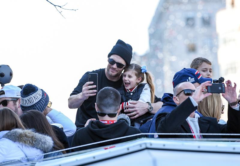 Tom Brady is getting online blowback over a video he posted of him and his daughter cliff jumping in Costa Rica. (Photo By Faith Ninivaggi/ Boston Herald/ MediaNews Group via Getty Images)