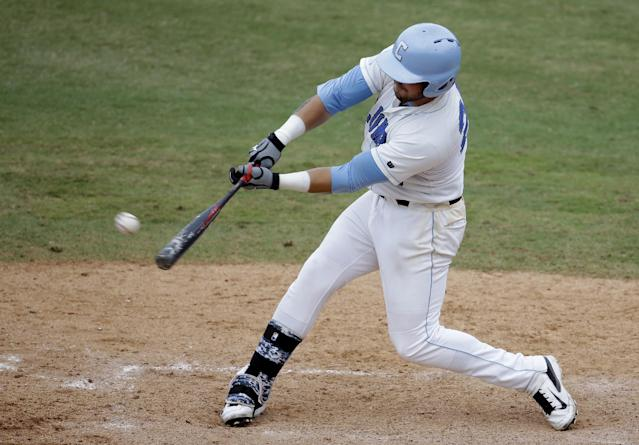 Columbia's Gus Craig hits a single to score Logan Boyher in the ninth inning against Bethune-Cookman during an NCAA college baseball regional tournament in Coral Gables, Fla., Saturday, May 31, 2014. Bethune-Cookman defeated Columbia 6-5. (AP Photo/Lynne Sladky)