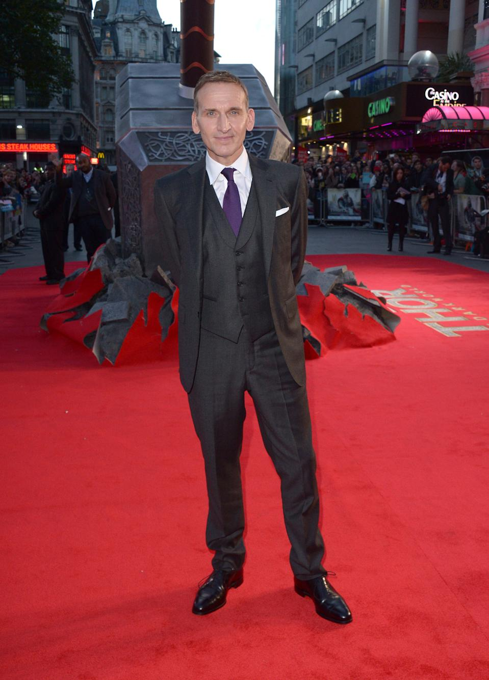 "Actor Christopher Eccleston arrives on the red carpet for the World Premiere of ""Thor: The Dark World"" in Leicester Square, London, on Tuesday Oct. 22, 2013. (Photo by Jon Furniss/Invision/AP Images)"
