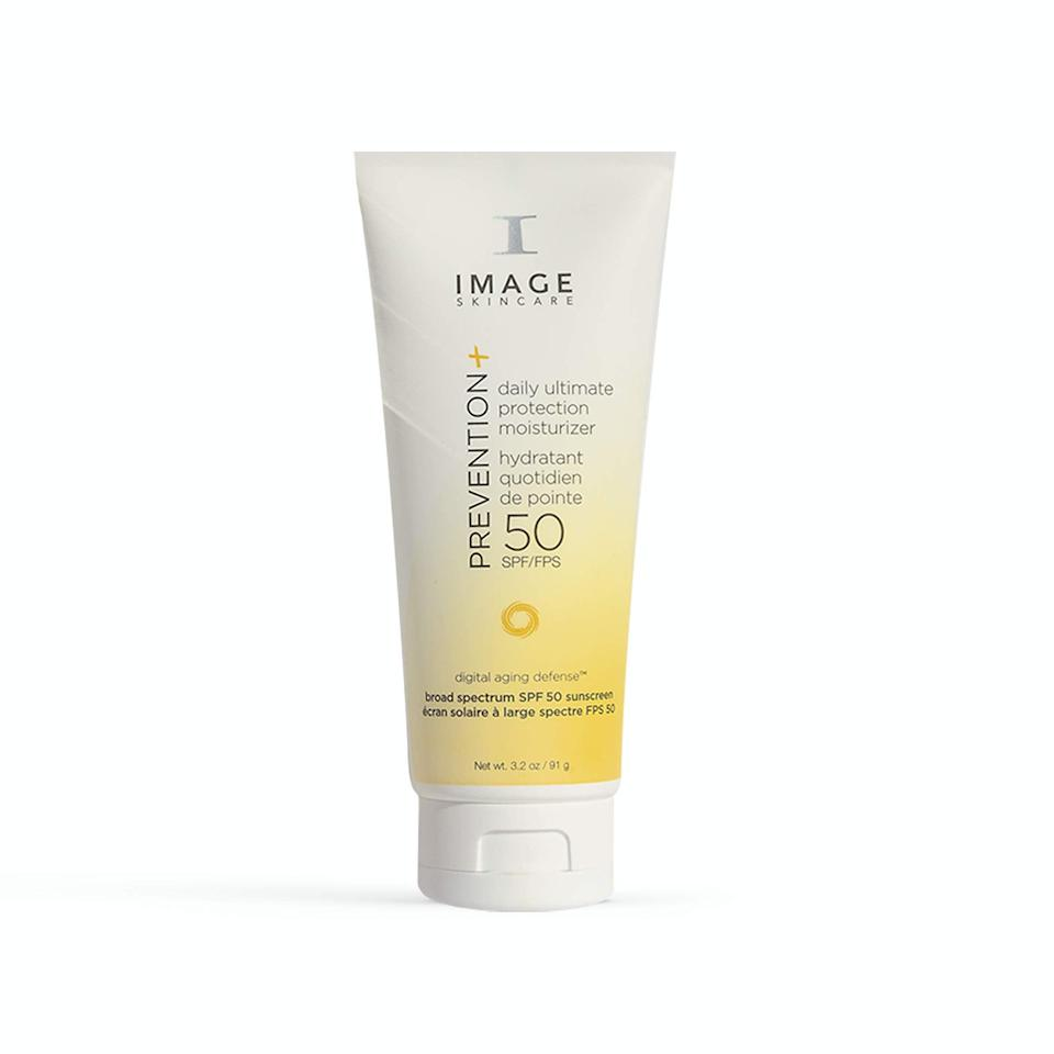 """<h2>Image Skincare<br></h2><br>Up to 30% off select products<br><br><strong>IMAGE Skincare</strong> Prevention Daily Ultimate Protection SPF 50 Moisturizer, $, available at <a href=""""https://amzn.to/3gUnwvI"""" rel=""""nofollow noopener"""" target=""""_blank"""" data-ylk=""""slk:Amazon"""" class=""""link rapid-noclick-resp"""">Amazon</a>"""