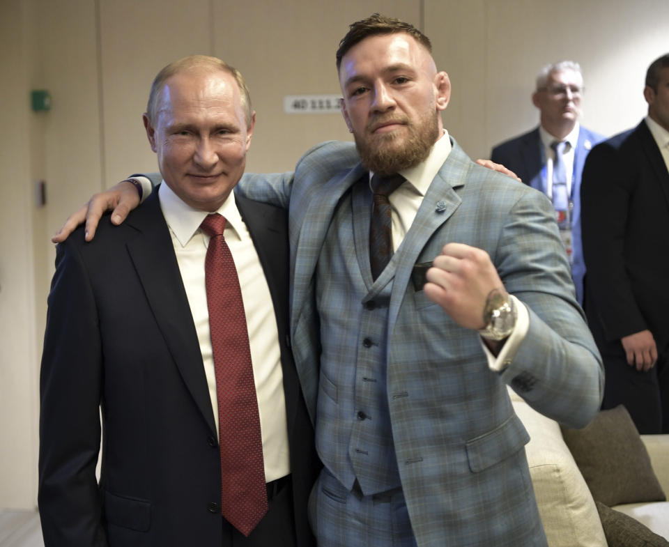 Ultimate fighting star Conor McGregor says he attended the 2018 World Cup final as a guest of Russian President Vladimir Putin. (AP Photo)