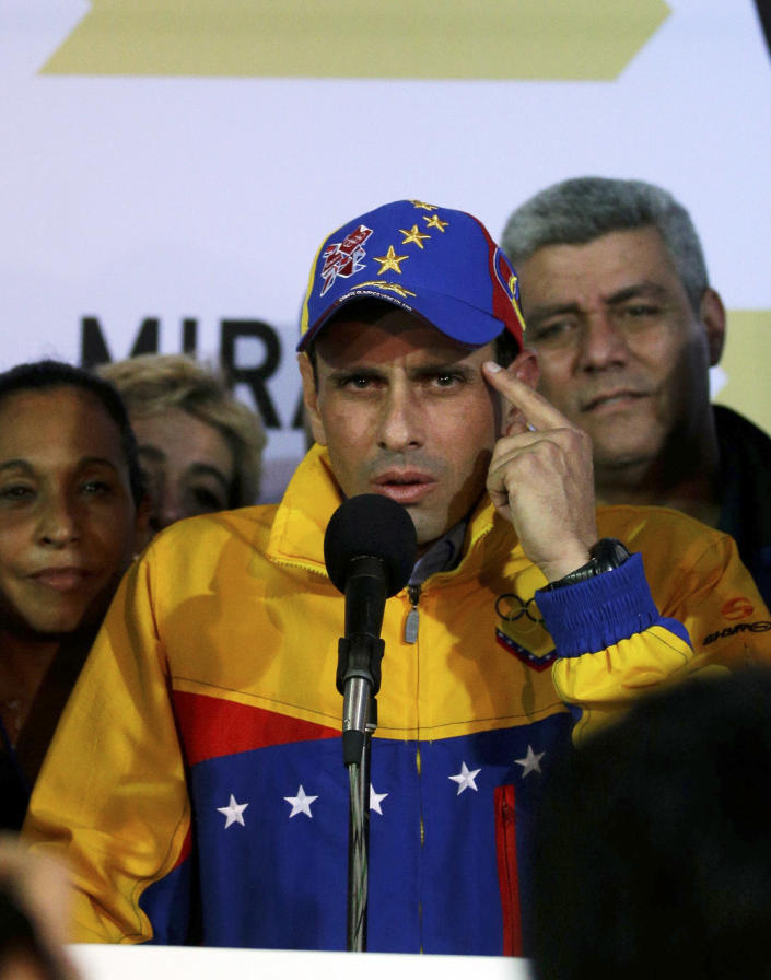 Miranda State's Gov. Henrique Capriles speaks after he was re-elected during an elections in Caracas, Venezuela, Sunday, Dec. 16, 2012. Capriles lost to Chavez in the country's October election, and his re-election Sunday will allow him to cement his position as Venezuela's dominant opposition leader, even as other opposition candidates floundered.(AP Photo/Fernando Llano)
