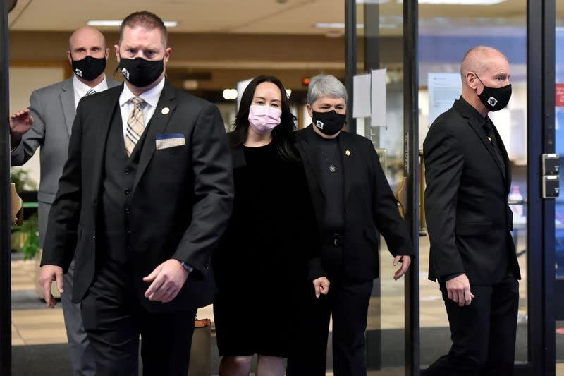 Huawei Technologies Chief Financial Officer Meng Wanzhou leaves court during a lunch break in Vancouver