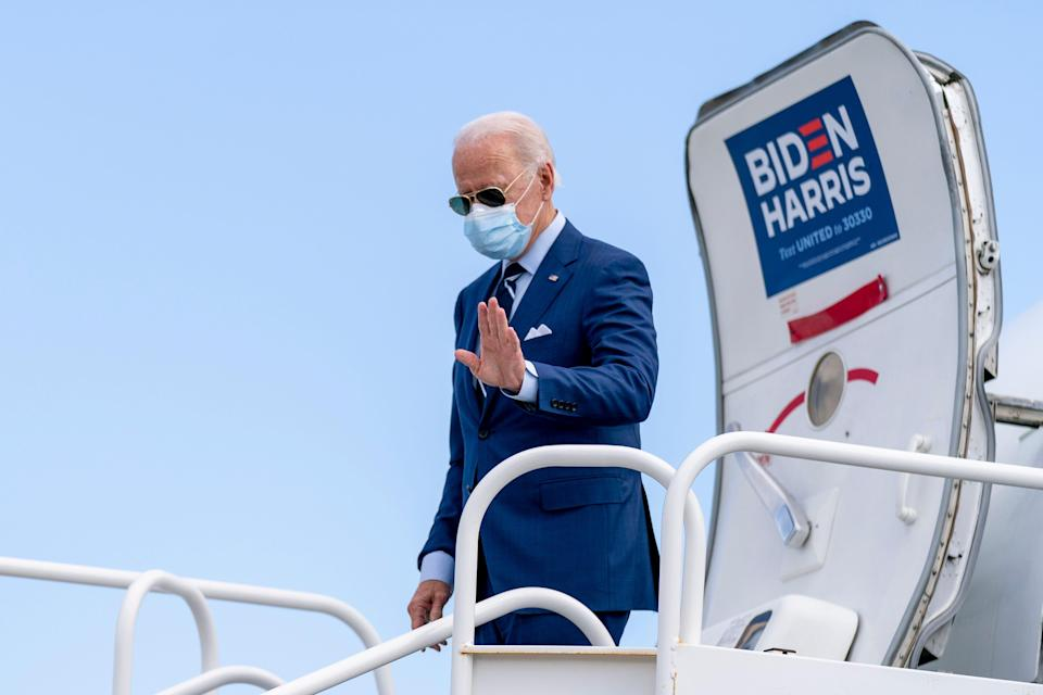 Democratic presidential candidate former Vice President Joe Biden arrives at Fort Lauderdale-Hollywood International Airport in Fort Lauderdale, Florida, on Thursday.