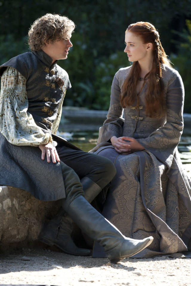 """Finn Jones and Sophie Turner in the """"Game of Thrones"""" Season 3 episode, """"The Climb."""""""